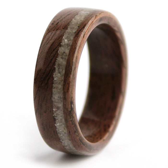 Walnut Wood with Diamond Dust Inlay – April Birthwood Ring