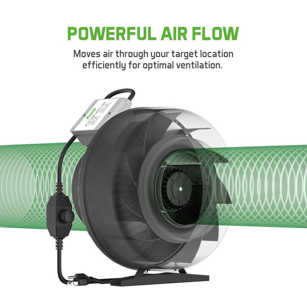 "6"" In-line Fan with Variable Fan Speed Controller & Filter With Duct Kit - Piverto"