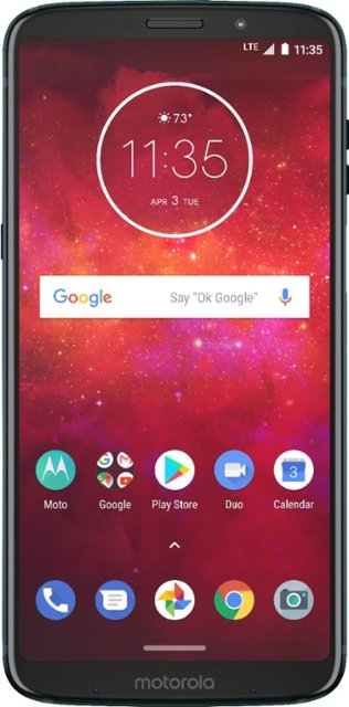 Motorola - Moto Z3 Play with 64GB Memory Cell Phone (Unlocked) with battery Moto Mod - Deep Indigo