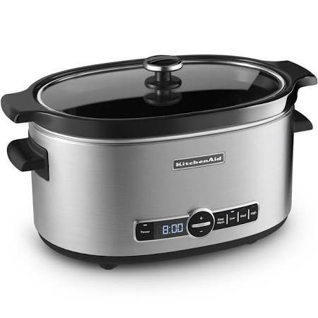 KitchenAid 6-Quart Slow Cooker with Solid Glass Lid, Stainless Steel
