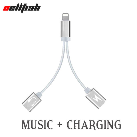 Earphone and charge Splitter Adapter For iPhone 7 8 X