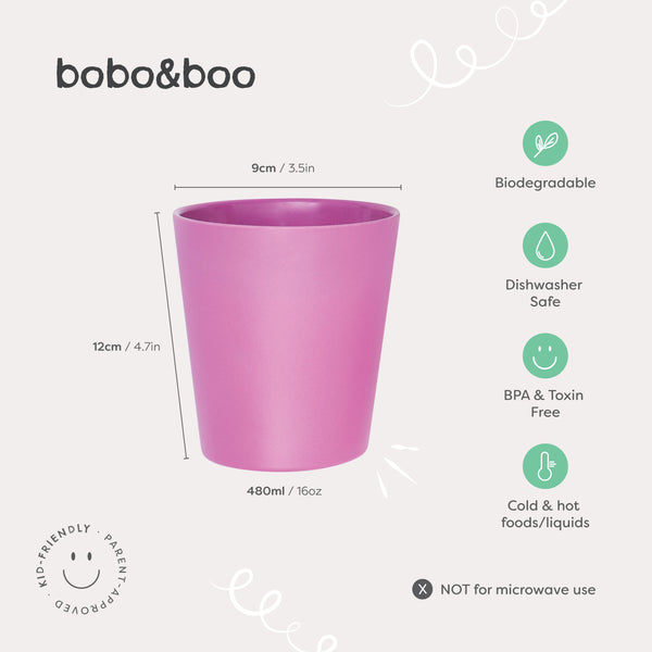 bobo&boo Bamboo Adult-Sized Drinking Cups - set of 4; Eco-Friendly & Non-Toxic - Sunset