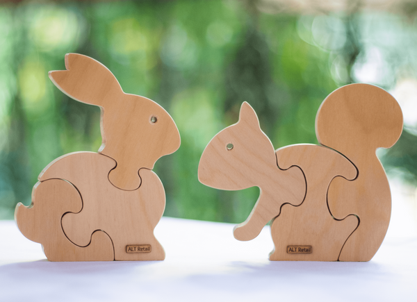 3 Piece Chunky Wooden Puzzles - Set of 2