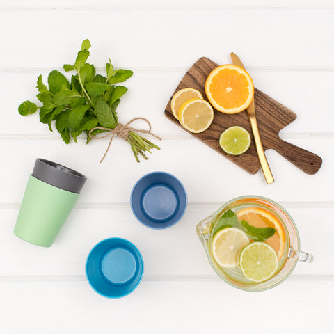 bobo&boo Non-Toxic, BPA-Free set of 4 Bamboo Kids Drinking Cups, Stackable & Reusable - Coastal