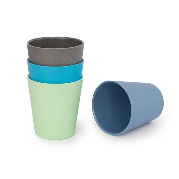 bobo&boo Bamboo Adult-Sized Drinking Cups - set of 4; Eco-Friendly & Non-toxic - Coastal