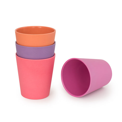 bobo&boo Non-Toxic, BPA-Free set of 4 Bamboo Kids Drinking Cups, Stackable & Reusable - Sunset