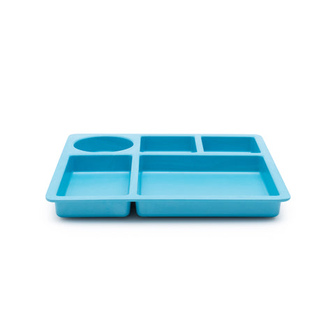 bobo&boo Non-Toxic, BPA-Free Bamboo Divided Plate for Kids, 5 Portioned Sections - Dolphin Blue