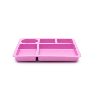 bobo&boo Non-Toxic, BPA-Free Bamboo Divided Plate for Kids, 5 Portioned Sections - Flamingo Pink