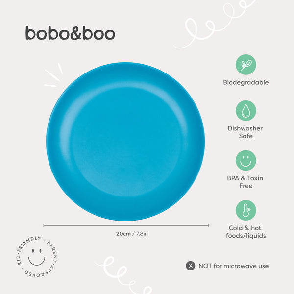 bobo&boo Bamboo Dinner plates for kids and babies - Non-Toxic, BPA-Free set of 4  - Coastal