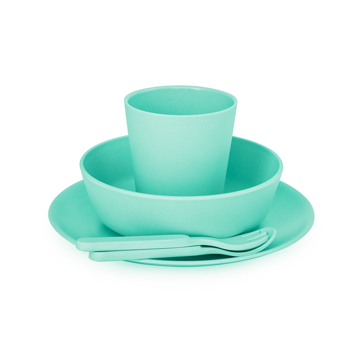 Bobo&Boo Non-Toxic, BPA-Free, 5 Piece Children's Bamboo Dinner Set- Mint Green