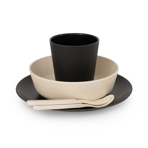 Bobo&Boo Non-Toxic, BPA-Free, 5 Piece Children's Bamboo Dinner Set - Monochrome