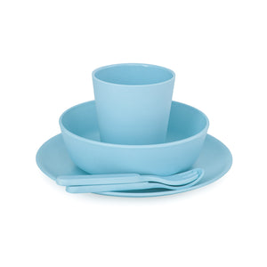 Bobo&Boo Non-Toxic, BPA-Free, 5 Piece Children's Bamboo Dinner Set - Pacific Blue