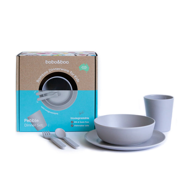 Bobo&Boo Non-Toxic, BPA-Free, 5 Piece Children's Bamboo Dinner Set - Pebble Grey