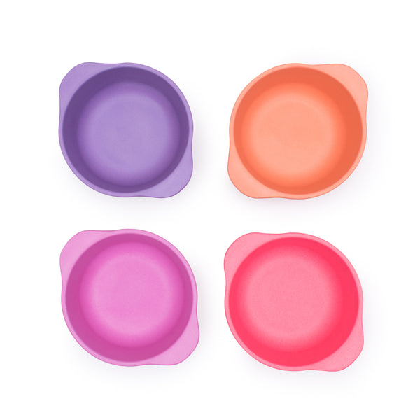 bobo&boo Non-Toxic, BPA-Free set of 4 Bamboo Kids Snack Bowls, Stackable & Reusable - Sunset