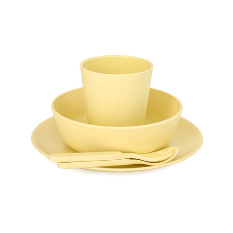 Bobo&Boo Non-Toxic, BPA-Free, 5 Piece Children's Bamboo Dinner Set - Sunshine Yellow