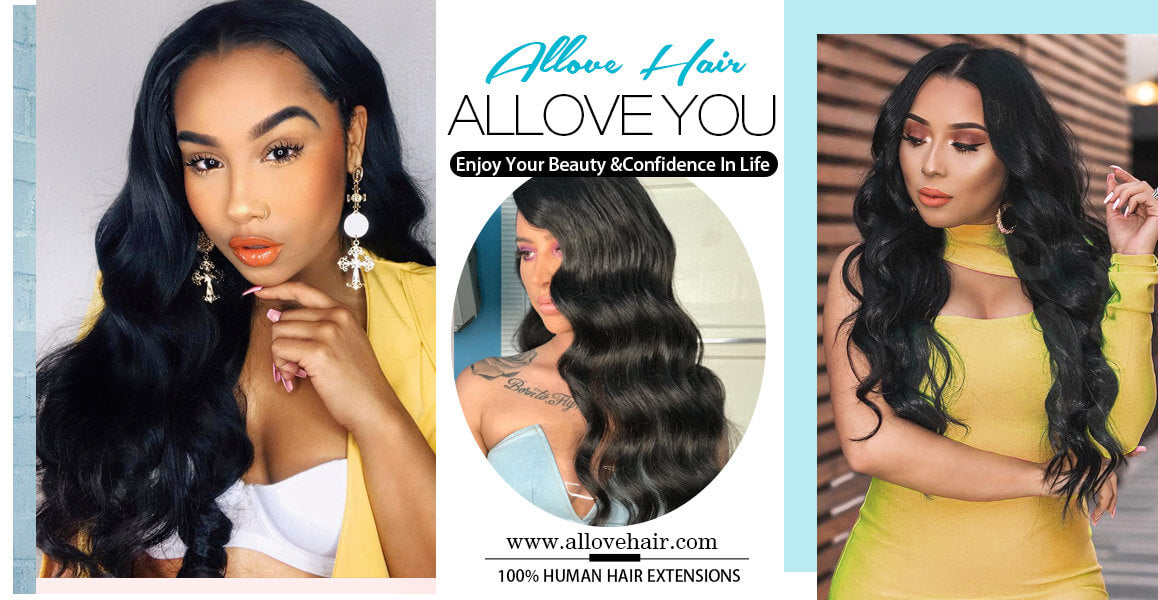Allove Hair Indian Body Wave 4 Bundles Human Hair Extensions