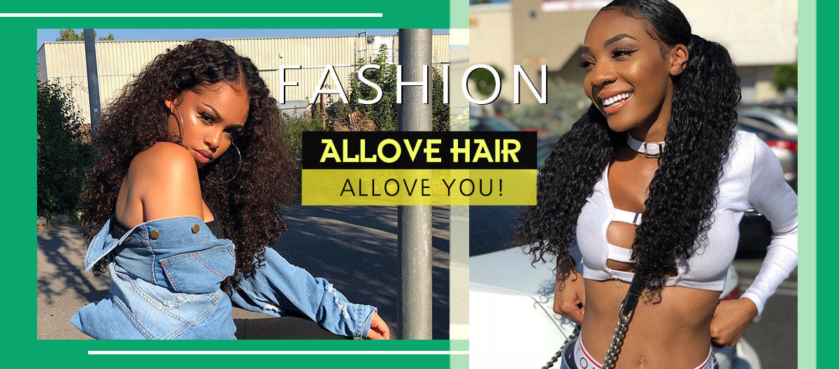 Allove Hair Virgin Brazilian Curly Hair 3 Bundles With 4*4 Lace Closure