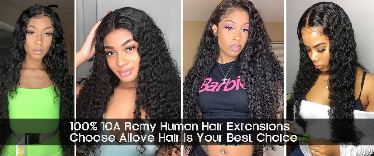 10A Remy Brazilian Deep Wave Hair 3Bundles With 4x4 Lace Closure With Baby Hair