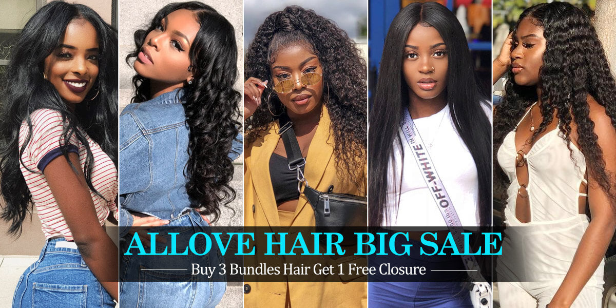 Allove Hair Buy 3 Bundles Kinky Curly Hair Get 1 Free Lace Closure