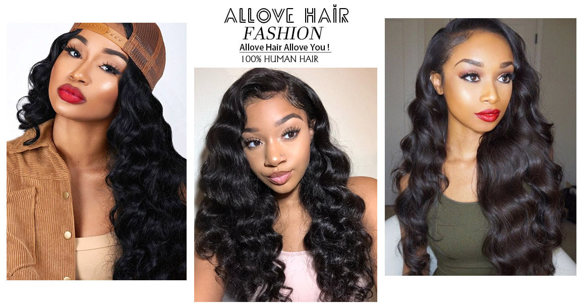 Allove Hair Peruvian Loose Deep Wave 3 Bundles with 4*4 Lace Closure Virgin Hair