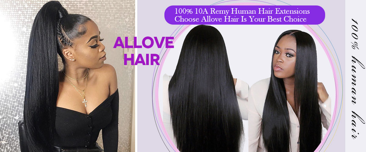 Allove hair 10A Straight 3 Bundles Peruvian Human Remy Hair