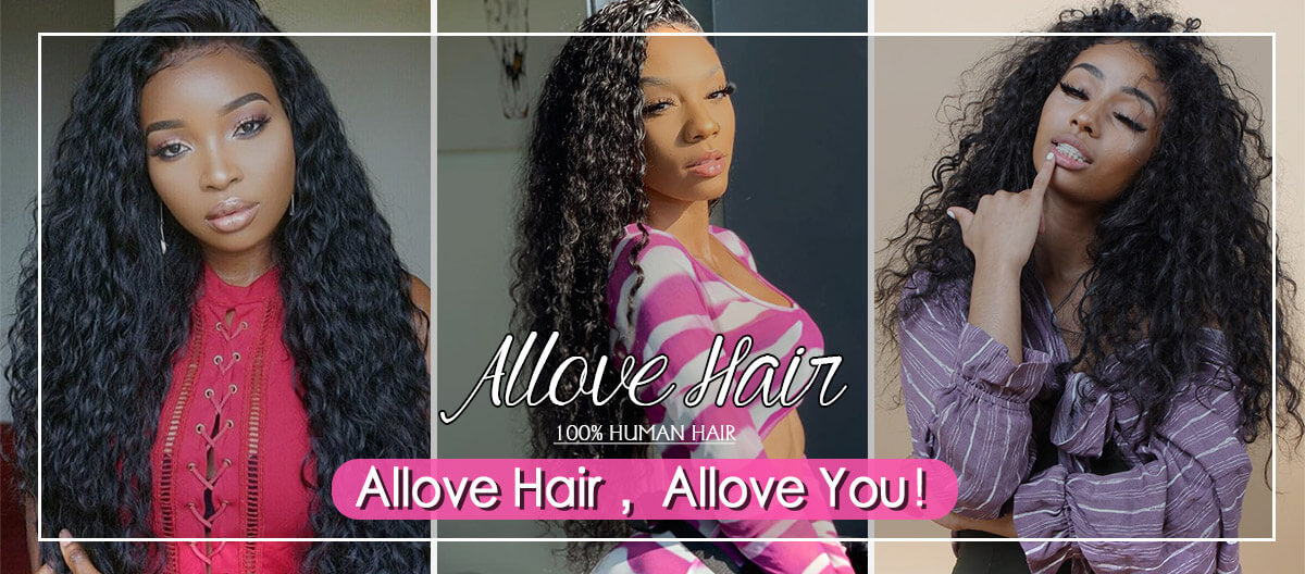 Allove Hair Indian 3 Bundles 13*4 Frontal Closure Water Wave Human Hair