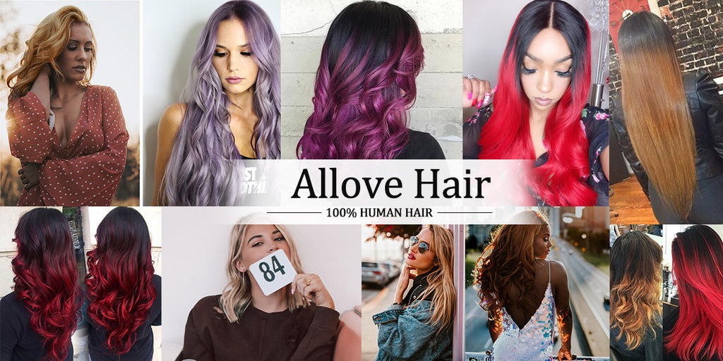 Allovehair T1B/PURPLE Ombre Straight Hair Bundles with Closure Fashion Colorful Hair