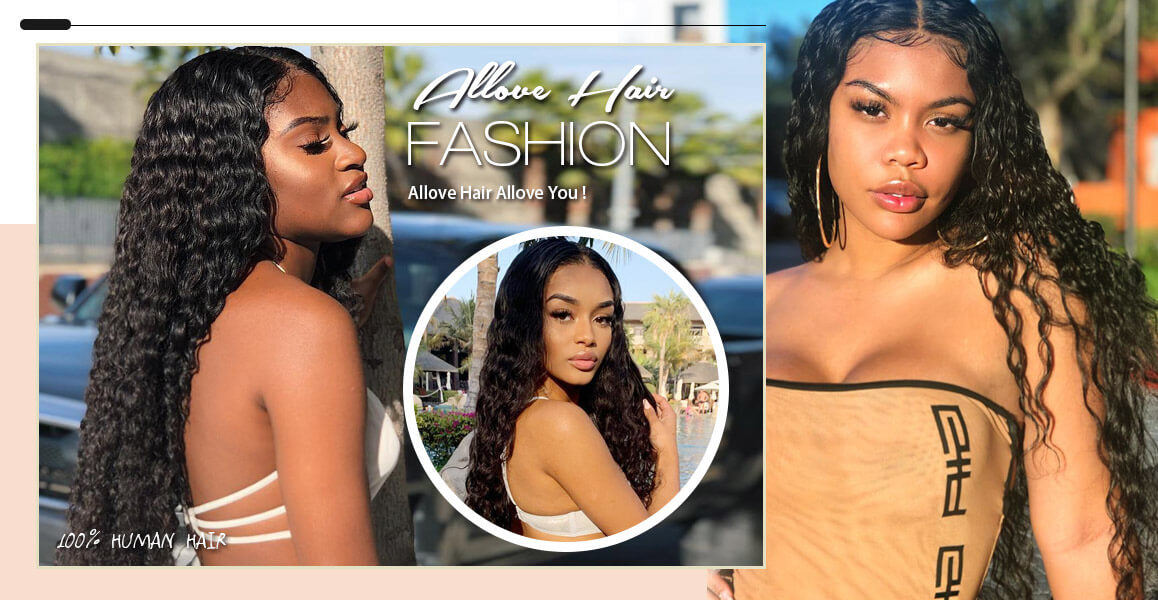 Allove Hair Brazilian Deep Wave 3 Bundles with 360 Lace Frontal Closure
