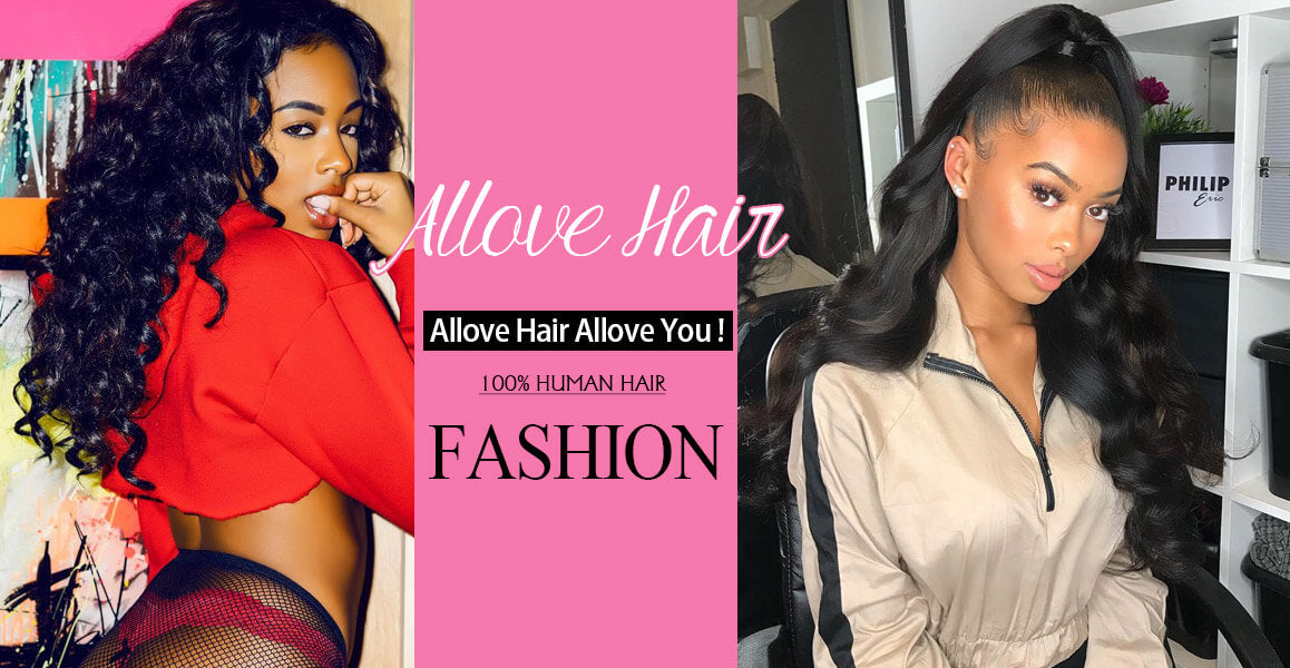 Allove Hair Peruvian Loose Wave Virgin Human Hair 4 Bundles With 4*4 Lace Closure