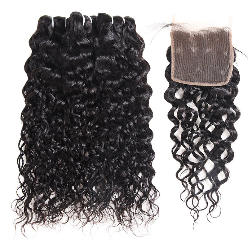 Malaysian Water Wave 3 Bundles with 4*4 Lace Closure Virgin Human Hair : ALLOVEHAIR