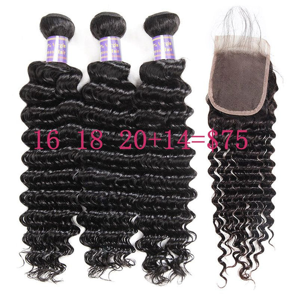 Overnight Shipping Big Sale Deep Wave 3 Bundles with Lace Closure Human Hair Available For USA