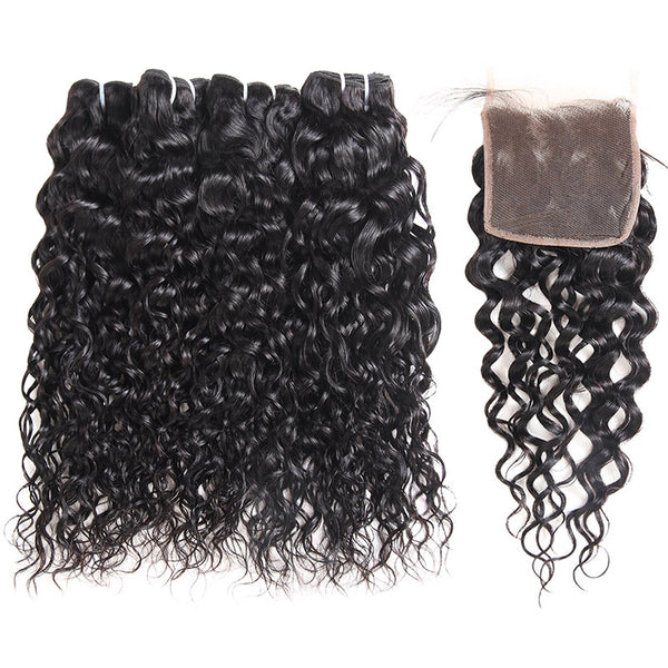 Malaysian Water Wave 4 Bundles with 4*4 Lace Closure Virgin Hair