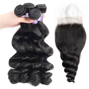Brazilian Loose Wave Virgin Human Hair 4 Bundles With Closure : ALLOVEHAIR