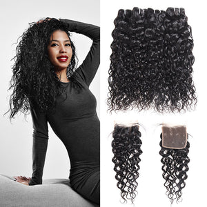 Brazilian Water Wave 4 Bundles with 4*4 Lace Closure Virgin Hair : ALLOVEHAIR