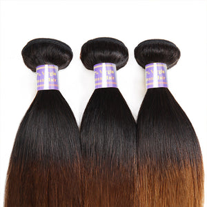 Allove Hair Two Tone Straight Hair Weave 3 Bundles T1B/30 Color Hair : ALLOVEHAIR