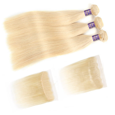 Allove Hair 613 Blonde Straight Human Hair 3 Bundles with 13*4 Lace Frontal : ALLOVEHAIR