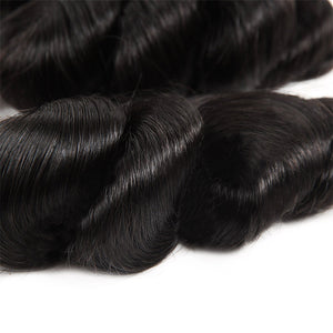 Allove Hair Brazilian Loose Wave Virgin Human Hair 3 Bundles with Lace Frontal : ALLOVEHAIR