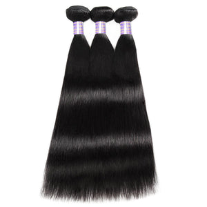 Allove Hair 3 Bundles with 360 Lace Closure Indian Straight Human Hair : ALLOVEHAIR