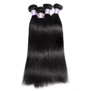 Allove Hair Malaysian Straight 4 Bundles Virgin Human Hair Extensions : ALLOVEHAIR