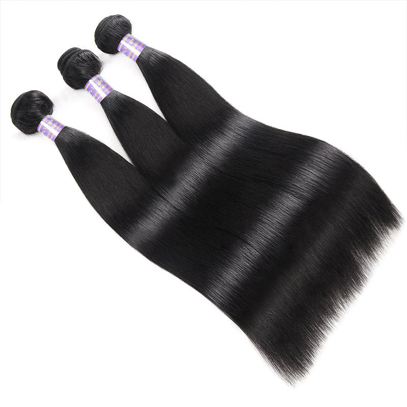 Overnight Shipping Virgin Straight Human Hair 3 Bundles With Closure Available For USA : ALLOVEHAIR