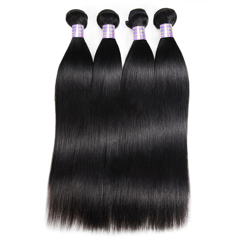 Brazilian Straight Hair 4 Bundles With 4*4 Lace Closure Allove Hair : ALLOVEHAIR