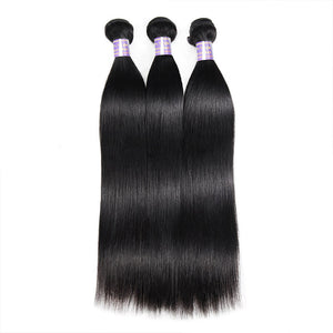 Allove Hair Virgin Brazilian Straight Hair 3 Bundles With Lace Frontal Closure Human Hair : ALLOVEHAIR