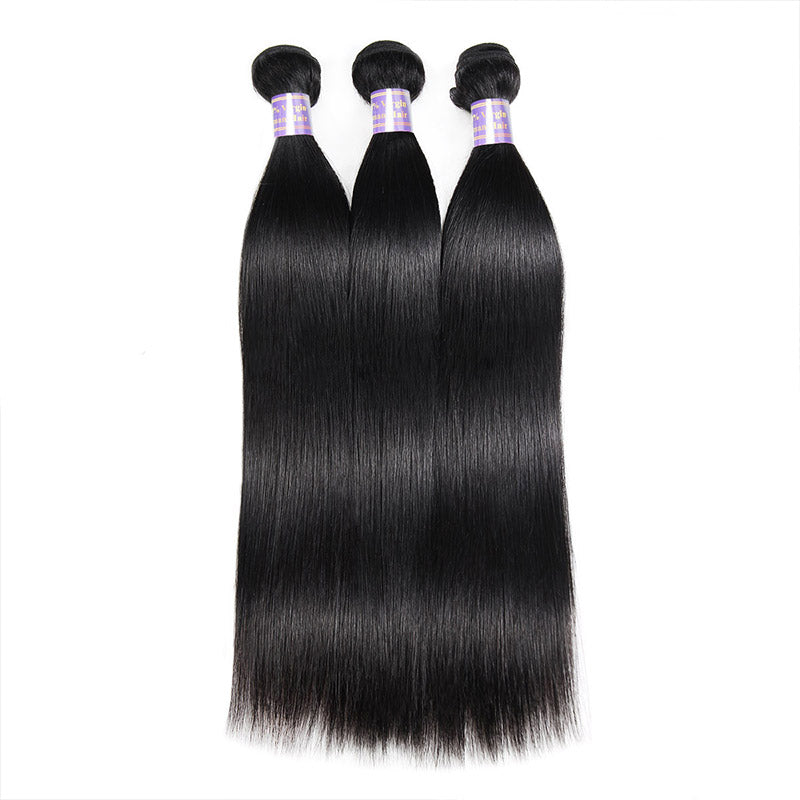 Brazilian Straight Hair 3 Bundles with Lace Frontal Closure Virgin Human Hair : ALLOVEHAIR