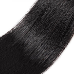 Allove Hair Virgin Peruvian Straight Human Hair 2 Bundles With 360 Lace Frontal Closure : ALLOVEHAIR