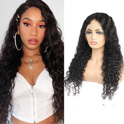 10A Remy Hair Water Wave Wig Transparent 13*4 Lace Front Human Hair Wigs : ALLOVEHAIR