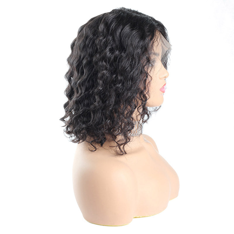 13*4 Deep Wave Short Bob Wig Lace Front Human Hair Wigs For Black Women