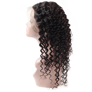 Allove Hair Peruvian Deep Wave 3 Bundles With 360 Lace Frontal Closure : ALLOVEHAIR