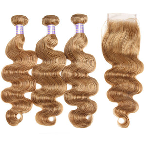 Allove Hair  Ombre 27# Body Wave Human Hair 3 Bundles With Lace Closure : ALLOVEHAIR