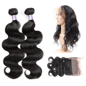 Peruvian Body Wave 2 Bundles with 360 Lace Frontal Closure : ALLOVEHAIR