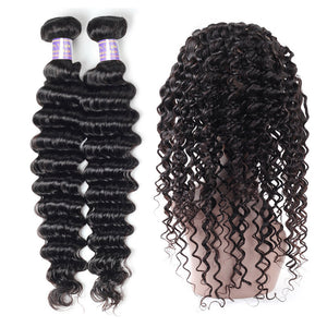 Peruvian Deep Wave 2 Bundles with 360 Lace Frontal Closure Virgin Hair : ALLOVEHAIR